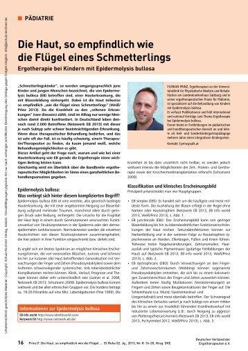Ergotherapie bei Kindern mit Epidermolysis bullosa - DEBRA Austria