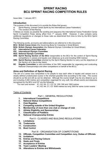 BCU Sprint Racing Rules 2011 - Canoe England