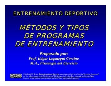 métodos y tipos de programas de entrenamiento - Saludmed