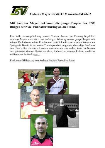 Andreas Mayer verstärkt Mannschaftskader! Mit ... - TSV Burgau