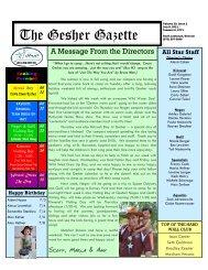 Volume 10 - Issue 2 - July 8, 2011 - Gesher Summer Camp