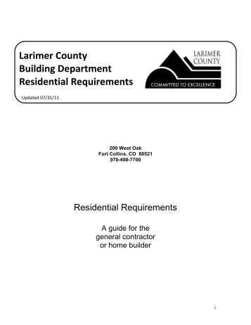 Larimer County Building Department Residential Requirements