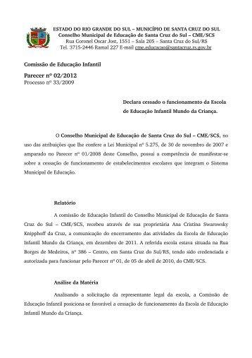 Parecer nº 02/2012 - Prefeitura de Santa Cruz do Sul
