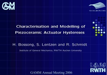 Characterisation and Modelling of Piezoceramic Actuator Hystereses