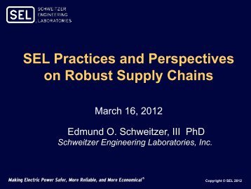 SEL Practices and Perspectives on Robust Supply Chains, Edmund ...