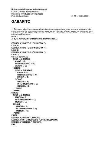 GABARITO - Hudson Costa