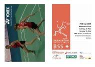 Turnierheft - Badminton Swiss Series