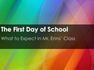 The First Day of School - Science with Mr. Enns