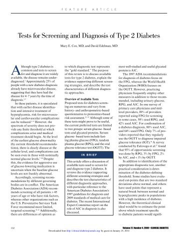 tests for screening and Diagnosis of type 2 ... - Clinical Diabetes
