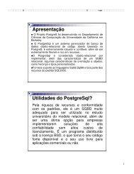 Apresentação Utilidades do PostgreSql? - Hudson Costa