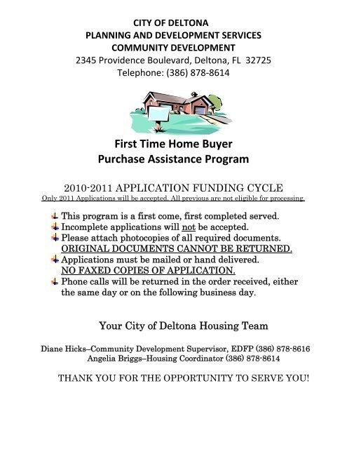 NSP Purchase Assistance Application - City of Deltona, Florida
