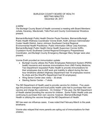 12-28-11 Meeting Minutes - Burleigh County