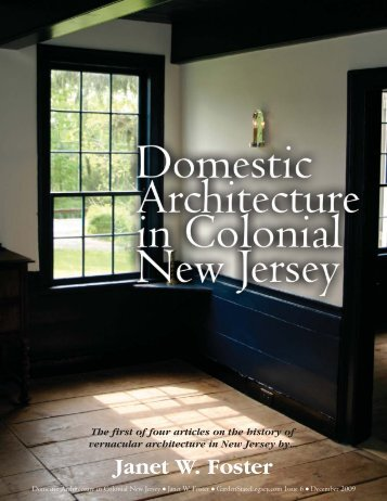Domestic Architecture in Colonial New Jersey - Garden State Legacy