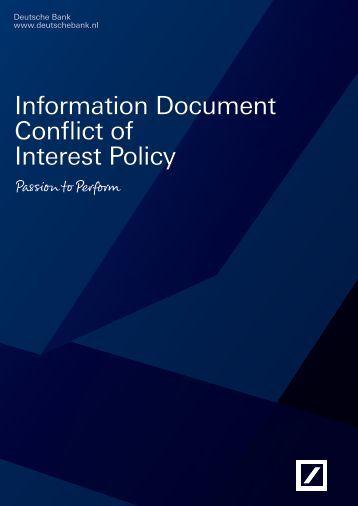 Information Document Conflict of Interest Policy - Deutsche Bank
