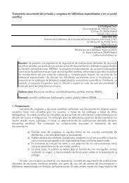 Tratamiento documental de jornadas y congresos en ... - E-LIS - rclis