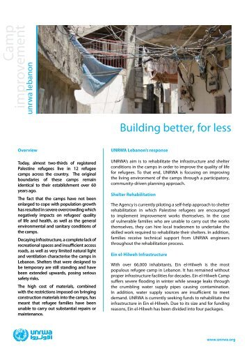 Camp improvement in Lebanon - Unrwa