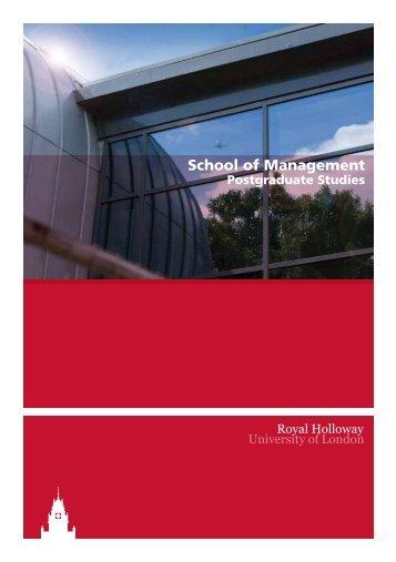 School Of Management Postgraduate Studies - Royal Holloway ...