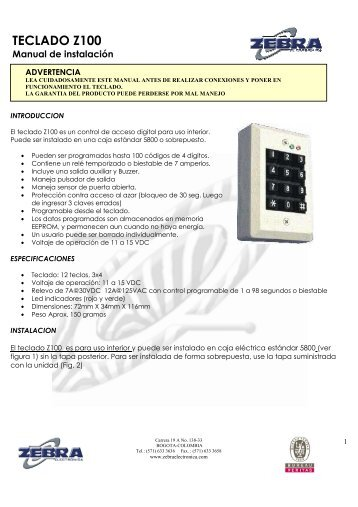 MANUAL TECLADO Z100.pdf - Zebra Electronica