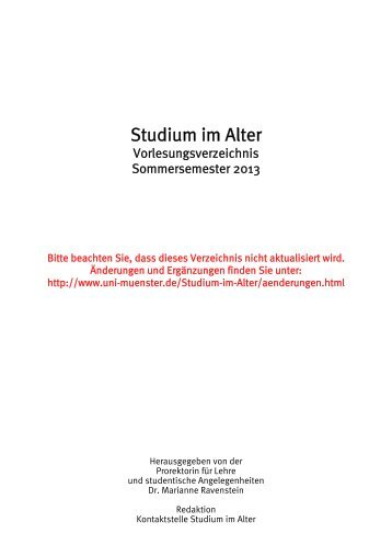 Studium im Alter - Westfälische Wilhelms-Universität Münster