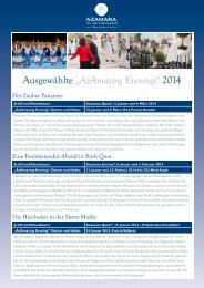 "Ausgewählte ""AzAmazing Evenings"" 2014 - Azamara Club Cruises"