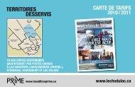 Téléchargez la carte de tarifs PDF - L'Écho du Lac