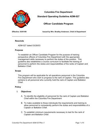 Standard operating guideline iaff for Standard operating guidelines template