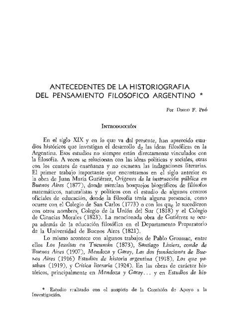 antecedentes de la historiografía del pensamiento filosófico argentino