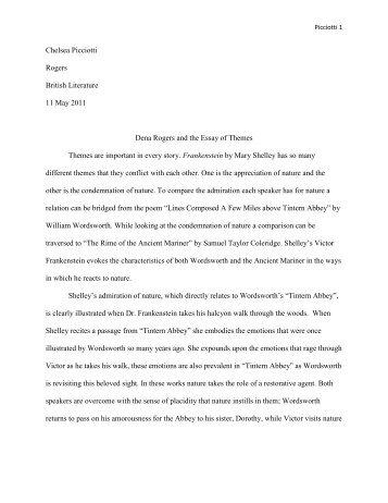 Frankenstein, the Albatross, and Tintern Abbey
