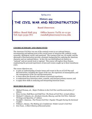 american reconstruction essays Read reconstruction free essay and over 88,000 other research documents reconstruction reconstruction was almost a complete failure economically, politically, and socially.