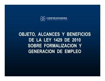objeto, alcances y beneficios de la ley 1429 de 2010 sobre ...