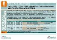 modifiche circolazione treni dal 22 al 29 agosto 2011 - Trenitalia