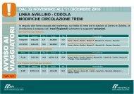 dal 22 novembre all'11 dicembre 2010 linea avellino - Trenitalia