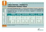 LINEA PISTOIA – PORRETTA VARIAZIONI ORARIO TRENI - Trenitalia