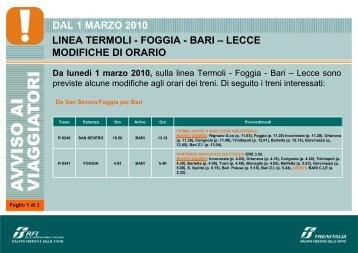 DAL 1 MARZO 2010 LINEA TERMOLI - FOGGIA - BARI ... - Trenitalia