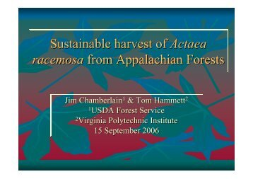 Sustainable harvest of Actaea racemosa from ... - FloraWeb