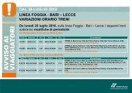 dal 26 luglio 2010 linea foggia - bari – lecce variazioni ... - Trenitalia