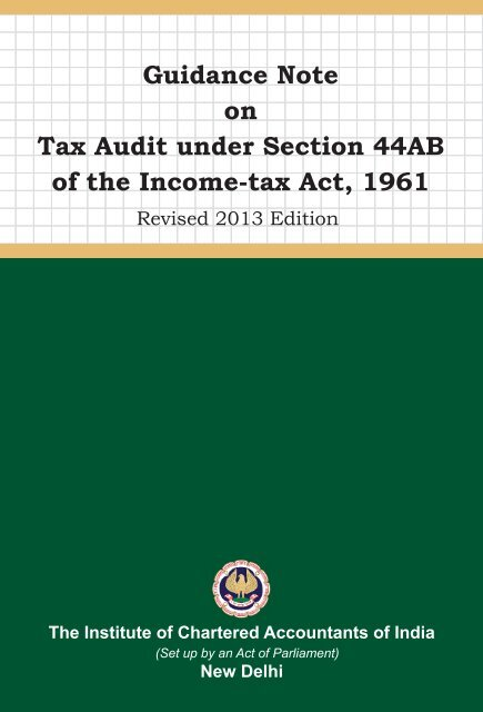 Guidance Note on Tax Audit under Section 44AB of