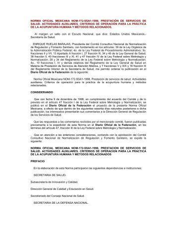 norma oficial mexicana nom-172-ssa1-1998, prestación de servicios ...