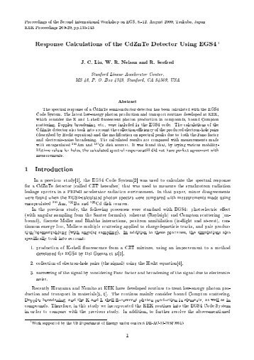 Response Calculations of the CdZnTe Detector Using EGS4, J.C.Liu ...