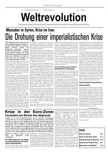 Massaker in Syrien, Krise im Iran: - Internationale Kommunistische ...