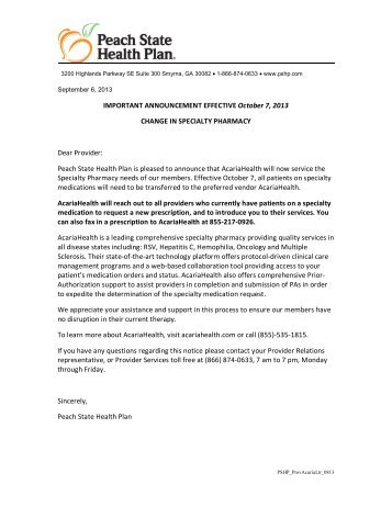 New Specialty Pharmacy: Acaria – Provider Notice - Peach State ...