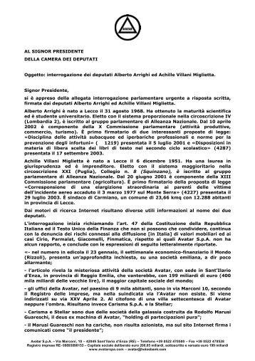 e-mail di Avatar S.p.A. del 2 febbraio 2004 - Wgov.org