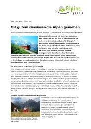 Mit gutem Gewissen die Alpen genießen