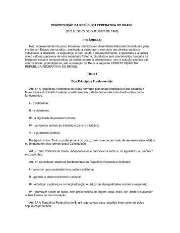 CONSTITUIÇÃO DA REPÚBLICA FEDERATIVA DO ... - Comunidades