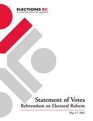 Statement of Votes - Referendum on Electoral Reform ... - Elections BC