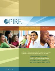 PIRE Brochure - Pacific Institute for Research and Evaluation