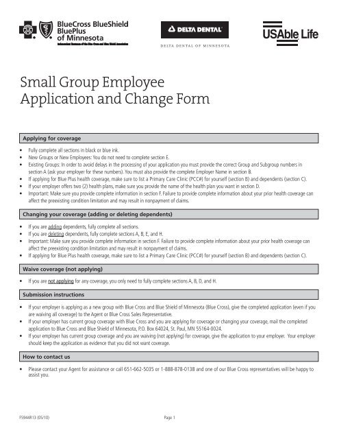 Small Group Employee Application and Change Form