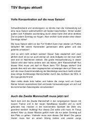 TSV Burgau aktuell Volle Konzentration auf die neue Saison!