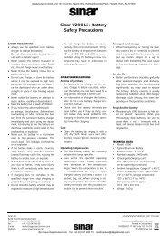Sinar V290 Li+ Battery Safety Precautions - image2output - Support