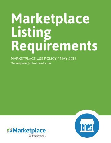 Marketplace Listing Policy - Infusionsoft